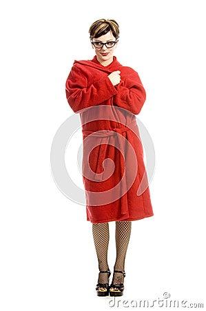 Having fun in bathrobe