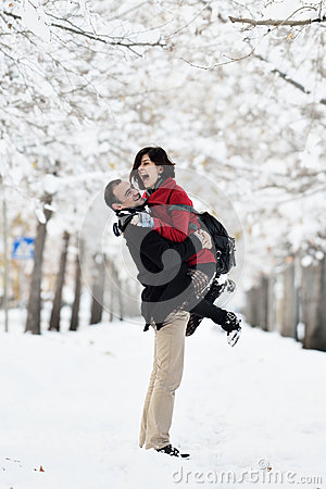 Free Having Fun In Winter Scene Royalty Free Stock Photography - 48942197