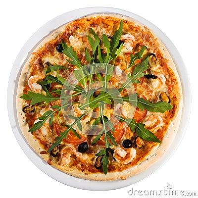 Havs- pizza uppifrån