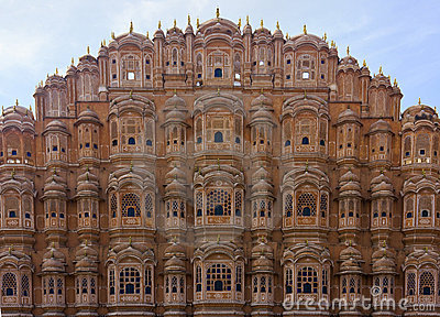 Hawa Mahal - facade in red sandstone
