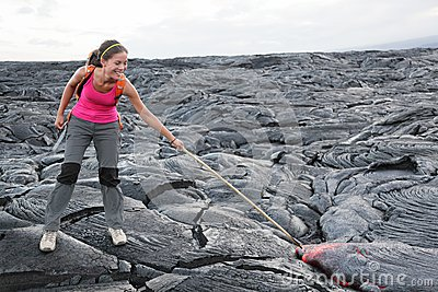 Hawaii Big Island lava tourist on volcano