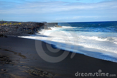 Hawaii black sand beach