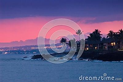 Hawaii coast at night