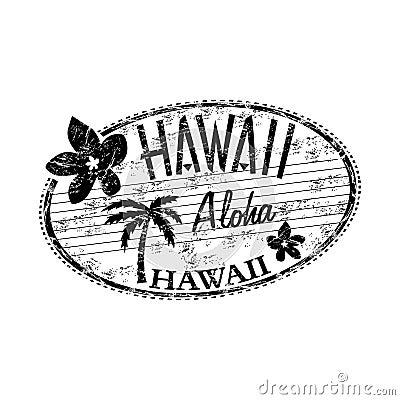 Hawaii grunge rubber stamp