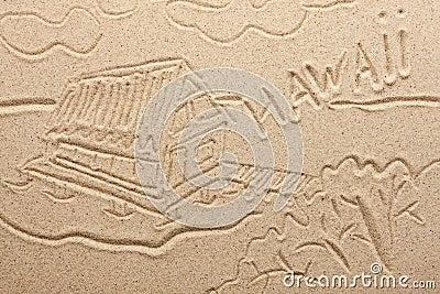 Hawaii handwritten from  sand