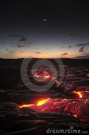 Hawaii Lava flow after sunset