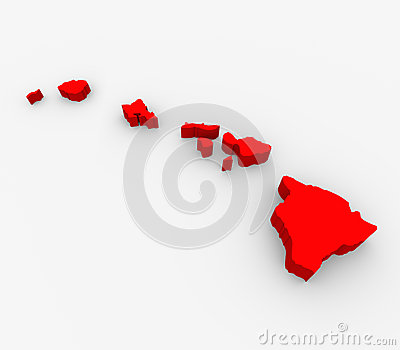 Hawaii Red Abstract 3D State Map United States America