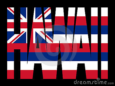 Hawaii text with flag