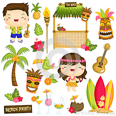 Free Hawaii Vector Set Royalty Free Stock Photos - 56712858