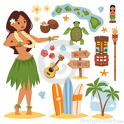 Free Hawaii Vector Set. Stock Image - 73161271
