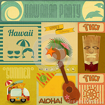 Free Hawaii Vintage Card Stock Photos - 32388793