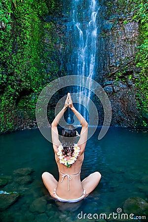 hawaii waterfall woman