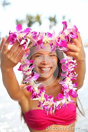 Hawaii woman showing flower lei garland