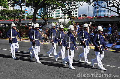 Hawaiian army guards unit marching Editorial Image