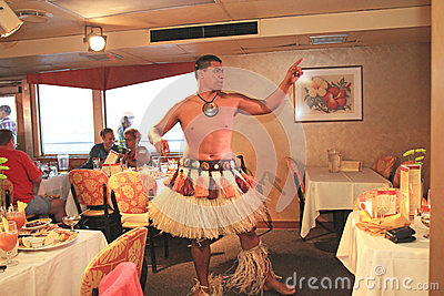 Hawaiian Dancers Perform on a Dinner Cruise Editorial Photo
