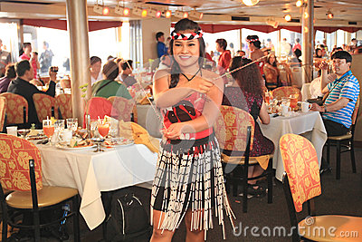Hawaiian Dancers Perform on a Dinner Cruise Editorial Stock Photo
