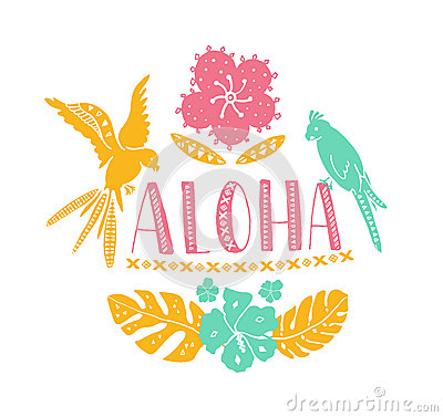 Free Hawaiian Design Elements. Aloha Word With Traditional Patterns, Tropical Leaves And Flowers, Two Parrots. Vector Summer Stock Photography - 75216552