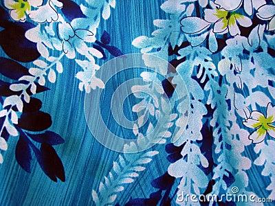 Blue Hawaiian Print Wallpaper Seamless