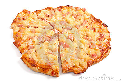 Hawaiian ham and pineapple pizza
