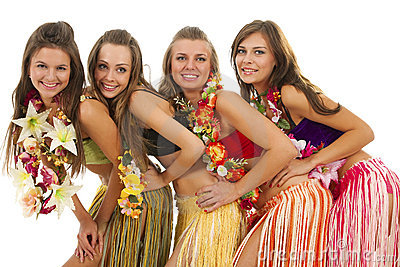 Hawaiian Hula Dancer Girls