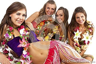 Hawaiian Hula Dancer Girls