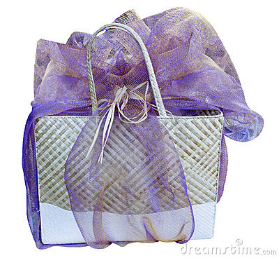 Hawaiian lauhala gift bag