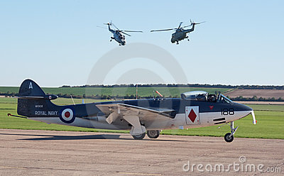 Hawker Sea Hawk with two Lynx helicopters Editorial Photo