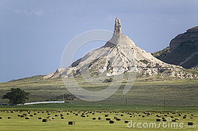 Hay bails in front of Chimney Rock National Historic Site
