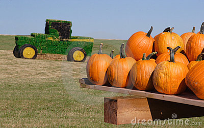 Hay Bale Tractor Editorial Stock Image