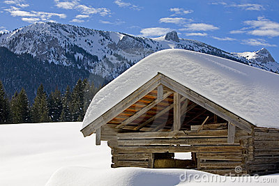 hay hut in winter