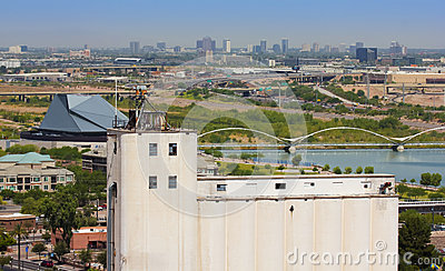 A Hayden Flour Mill and Tempe Town Lake Shot Editorial Stock Photo