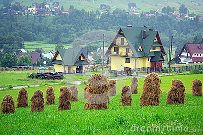 Haystacks on the field in Zakopane