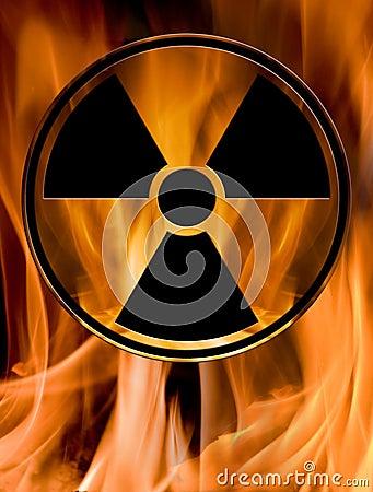 Hazard sign in fire