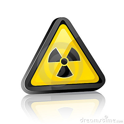 Hazard warning sign with radiation symbol