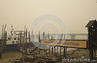 Haze hazard at Muar Malaysia Editorial Stock Image