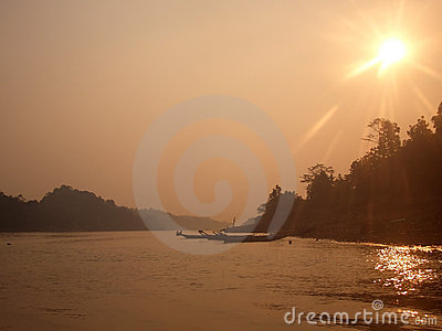 Haze over Borneo river
