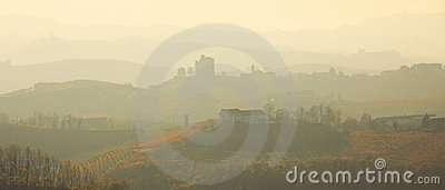 Haze over the hills. Piedmont, Northern Italy.