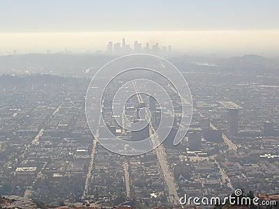 Haze over Los Angeles city