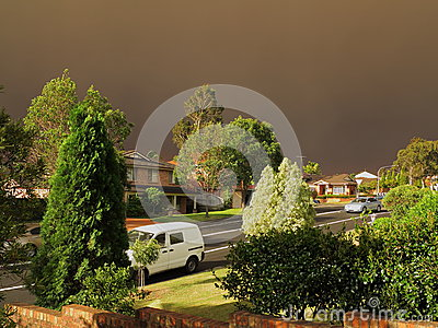 Dark haze over district by bushfires
