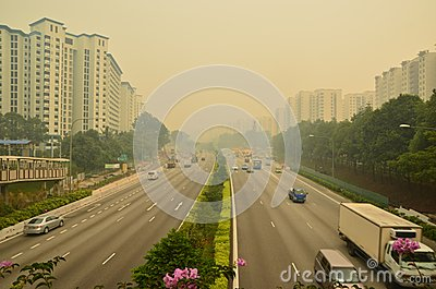 Haze in Singapore Highway Editorial Photography