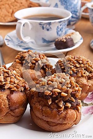 Free Hazelnut And Peanut Cakes With Coffee Stock Photography - 9892562