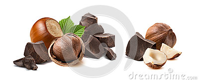 Hazelnut chocolate broken pieces isolated Stock Photo