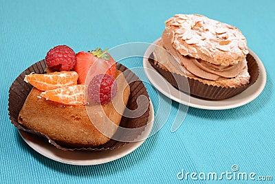 Hazelnut and fruit tarts