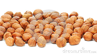 Hazelnuts background isolated on white background.