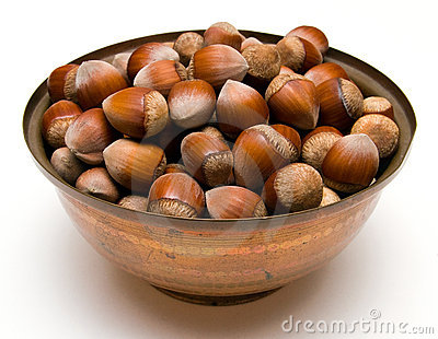 Hazelnuts in a copper bowl