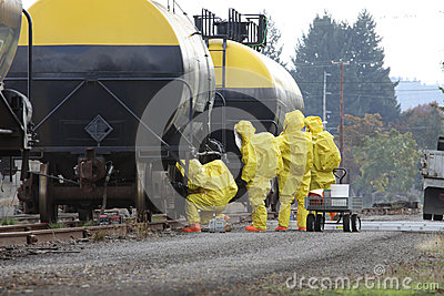 HAZMAT Team Members Checks For Leaks
