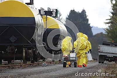 HAZMAT Team Members Investigate Chemical Disaster