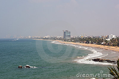 Hazy colombo shoreline
