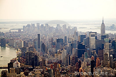 Hazy New York City skyline
