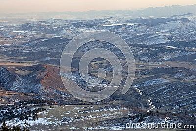 Hazy winter view of Colorado Rocky Mountains